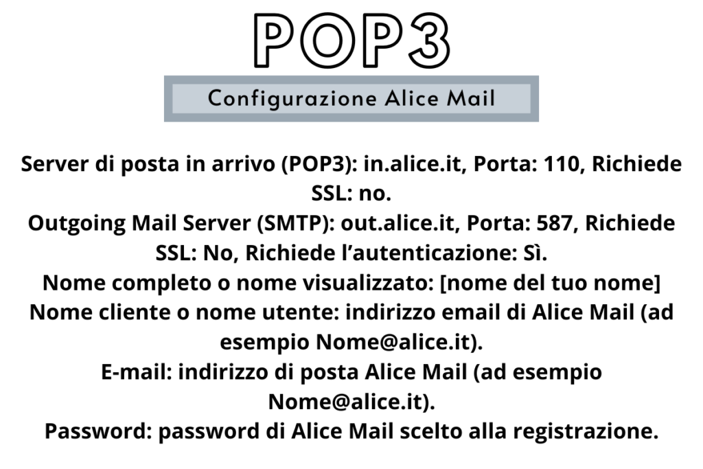configurazione alice mail pop3